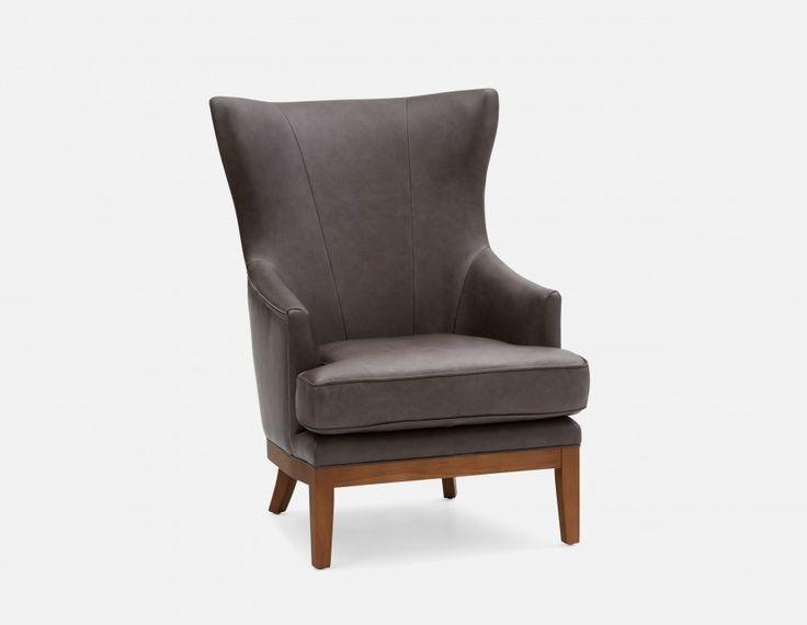 WILSON - 100 % Leather armchair - Grey
