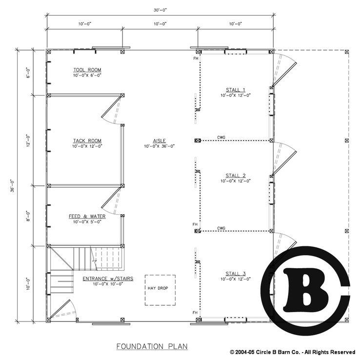 Floorplan bf012 circle b barn company and for Tack shed plans