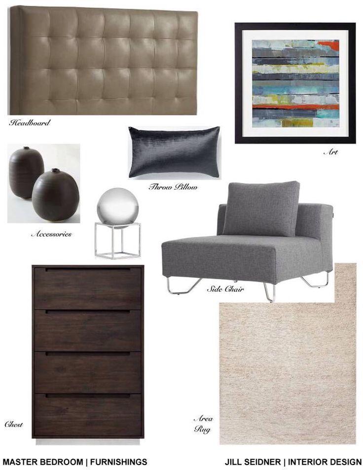 Master Bedroom Furnishings Concept Board Jill Seidner