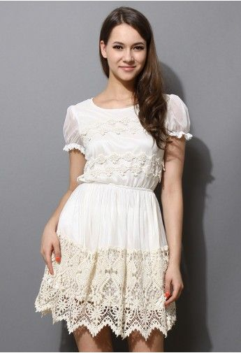 Delicacy Crochet Embellished White Tulle Dress