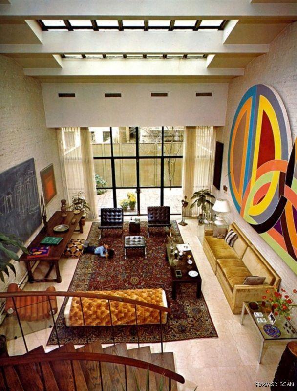 70's loft interior design.