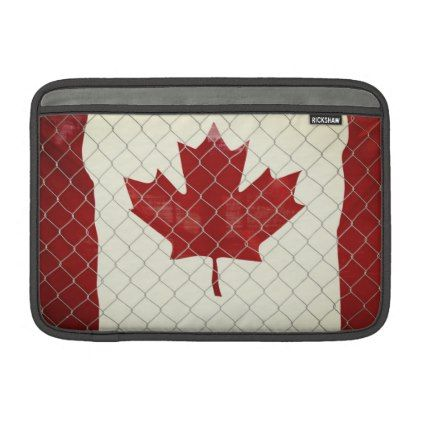 Canadian Flag. Chain Link Fence. Rustic. Cool. MacBook Sleeve - red gifts color style cyo diy personalize unique
