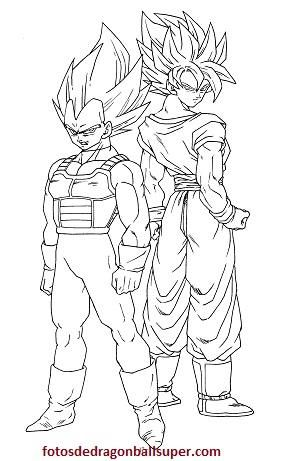 4 Imagenes De Goku Y Vegeta Para Colorear En Super Sayayin 2 N