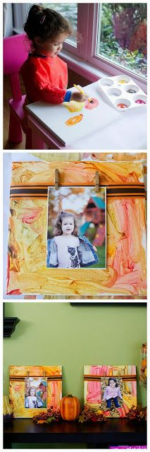 Fall Canvas Picture Display: Display your fall photos using your child painted canvas as a background!