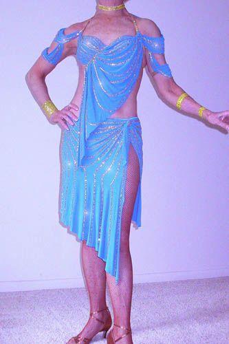 Blue Maria McGill Latin Dress For Sale, Dance Costumes For Sale, Dance Gowns for sale