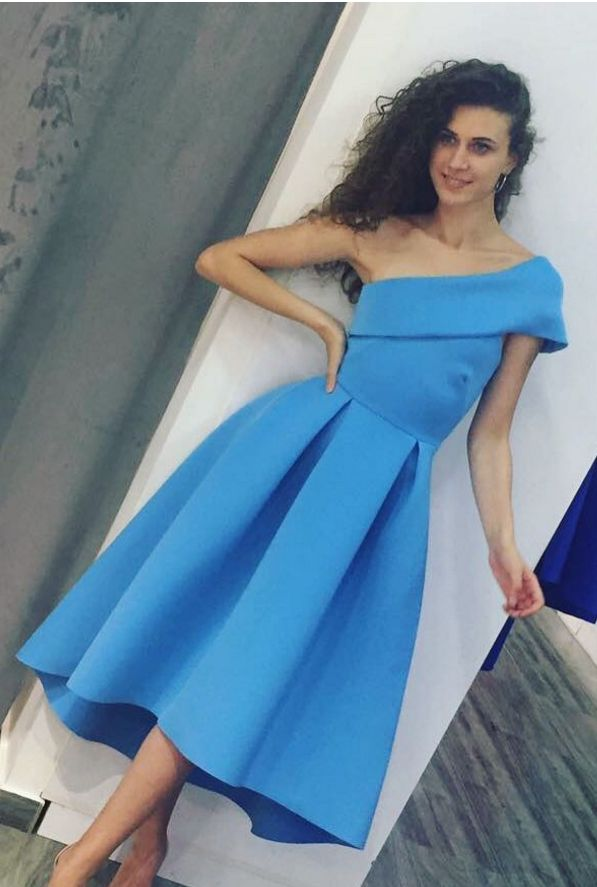 Ice Blue Satin One Shoulder High Low Midi