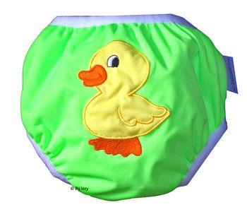 Zwemluier van het merk Monkey Doodlez. Kleur is groen met een lieve #eendjes applicatie.  #baby #zwemluier