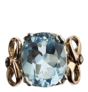 Blue Topaz and 9ct Gold Ring