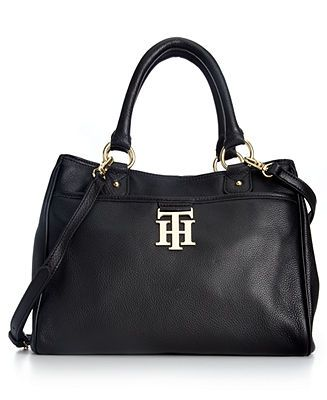 Tommy Hilfiger Handbag, TH Monogram Leather Convertible Shopper - Crossbody & Messenger Bags - Handbags & Accessories - Macy's
