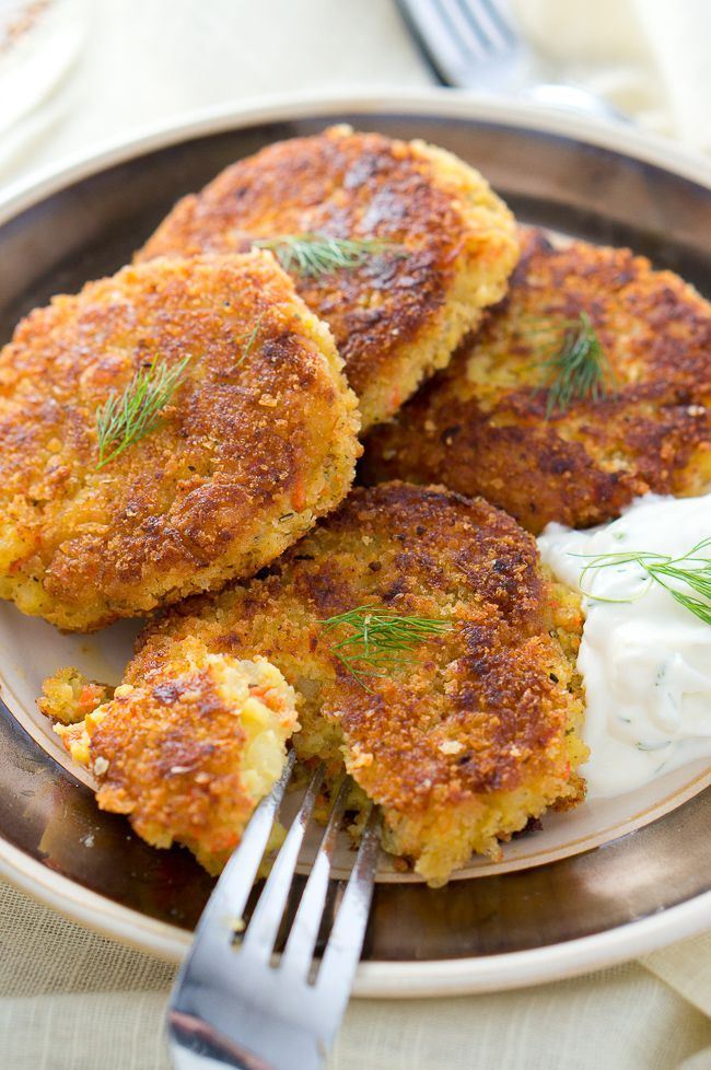 These crispy on the outside and soft on the inside potato patties are quickly done and super delicious. I like to serve them with yogurt garlic dip.