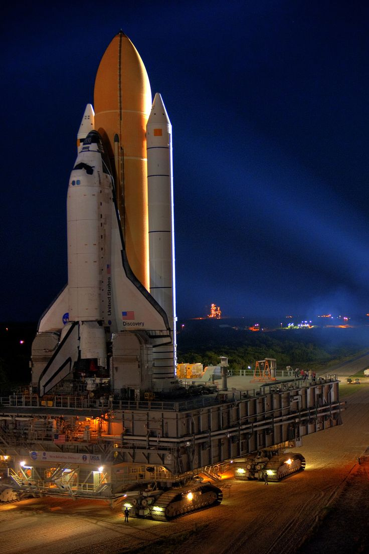 Space shuttle Discovery on her way to the launch pad