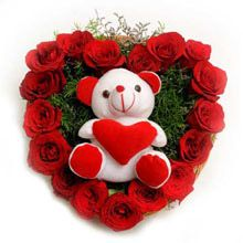Roses N Soft Toy. The lovely arrangement in a heart is a wonderful gift that any loved one in your life will adore.