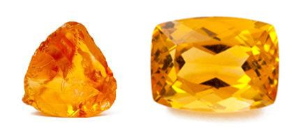 Citrine - Citrine de Madeire brute et gemme de Citrine taillée - Juwelo, guide des pierres en ligne