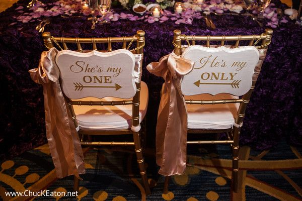 Super cute bride and groom chair signs - Indian Wedding Reception Decor