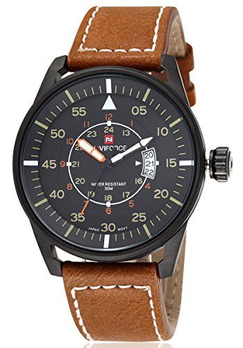 Amazon Lightning Deal 97% claimed: Voeons Mens Watches Luminous Hands Auto Date Brown Leather Strap Watch