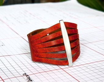 Orange Leather Cuff, Womens Orange Bracelet  - The Flare