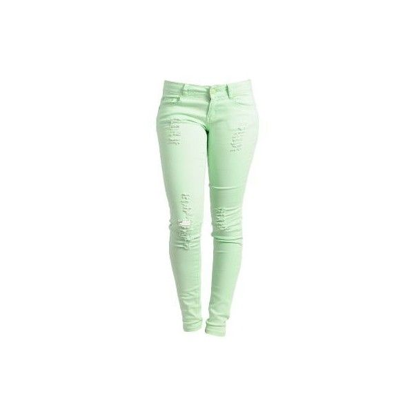 Mint Fresh Squeeze Distressed Skinny Jeans | $15.50 | Cheap Trendy... ($14) ❤ liked on Polyvore