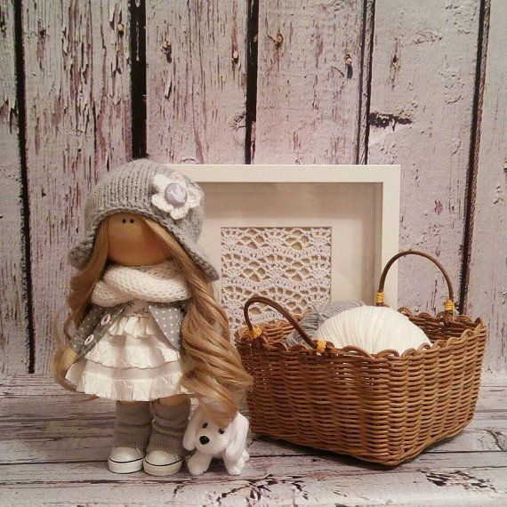 Lady doll doll Tilda doll Art doll handmade brown grey white colors Rag doll Soft doll Fabric doll Home doll by Master Irina Bukina