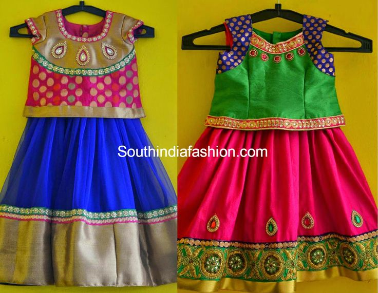 Kids Lehenga Blouse Designs Baby Girl In Pattu Langa