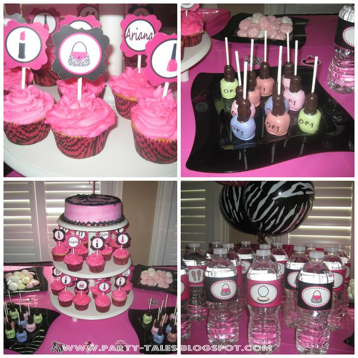 PartyTales  Birthday Party  Zebra Print And Hot Pink DIVA SPA - Spa birthday party cake