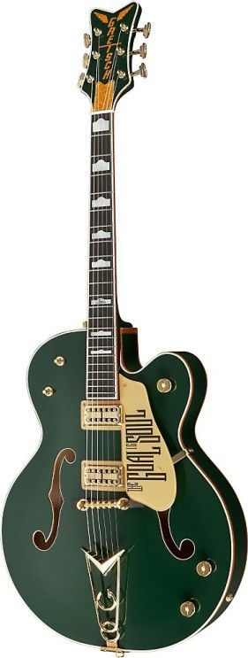 "Bono and Gretsch recently collaborated on this updated version of the iconic green Gretsch guitar known as the Irish Falcon. Used extensively on U2's 2005 Vertigo tour, the G6136I incorporates classic Gretsch Falcon specs, including an arched laminated maple body with multiple gold sparkle bindings, two-piece maple neck with ebony fingerboard, High Sensitive Filter'Tron pickups, Gretsch Cadillac ""G"" tailpiece and lustrous Evergreen finish.Other features include mother-of-pea..."