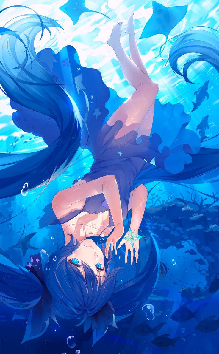 Hatsune Miku Underwater, fishes, rays