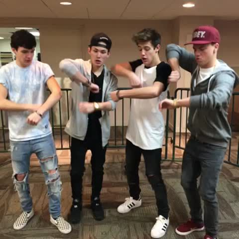"Watch Cameron Dallas's Vine ""We cook it, we punch it 😂 #Sauce Aaron Carpenter, Taylor caniff, Carter Reynolds"""