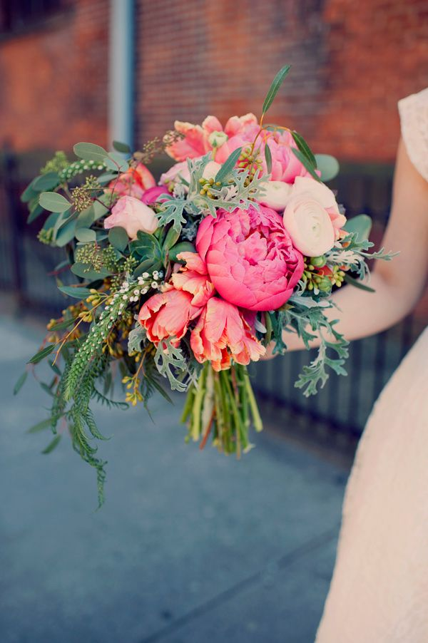 Beautiful bouquet of greens and corals and pinks. We love Brooklyn brides and their creative ideas for wedding bouquets!