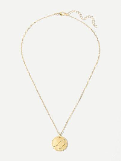 87bf6af6f6 Libra Engraved Round Pendant Necklace 1pc [necklacenc190114828] - $8.00 :  cuteshopp.com