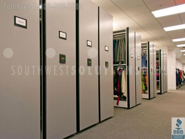 Hanging apparel and garment shelving, racks, and cabinets provides efficient storage for commercial samples and bulk retail goods in stockrooms to get organized and save space.