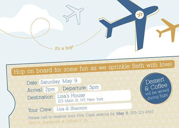 Custom Boy Airplane Baby Shower Invitation  Set of by ItsHueILove, $30.00