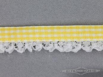 Ruitjes plisse kant 15mm geel