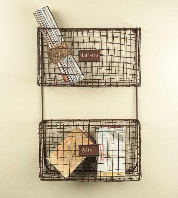 Metal Pocket Wall Organizer Mail Towels Magazines Kitchen Basket Shabby Chic Rustic Primitive Farm