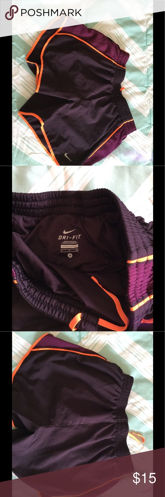 Nike Dri-Fit running shorts Nike Dri-Fit Running shorts, size small. Excellent condition, hardly worn. Have the mesh underwear inside. Nike Shorts