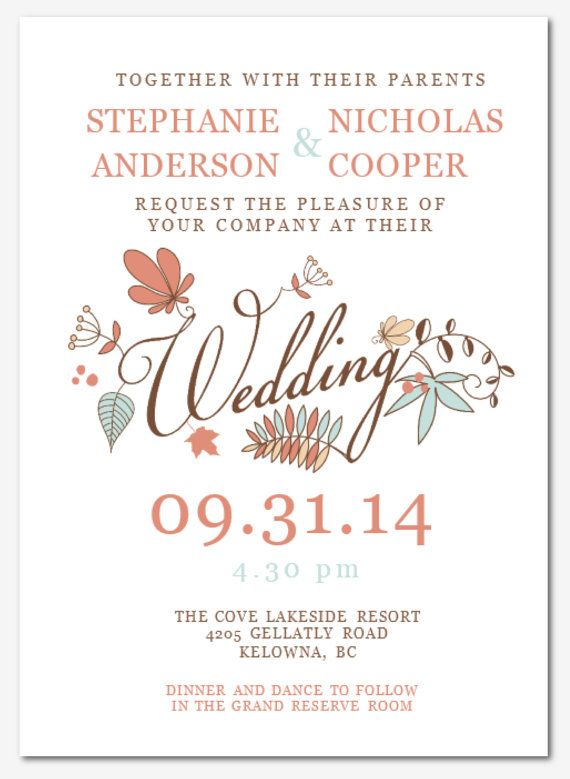 DIY Printable MS Word Wedding Invitation Template W006 By Inkpower   Invitation  Templates Microsoft  Invitation Templates Microsoft
