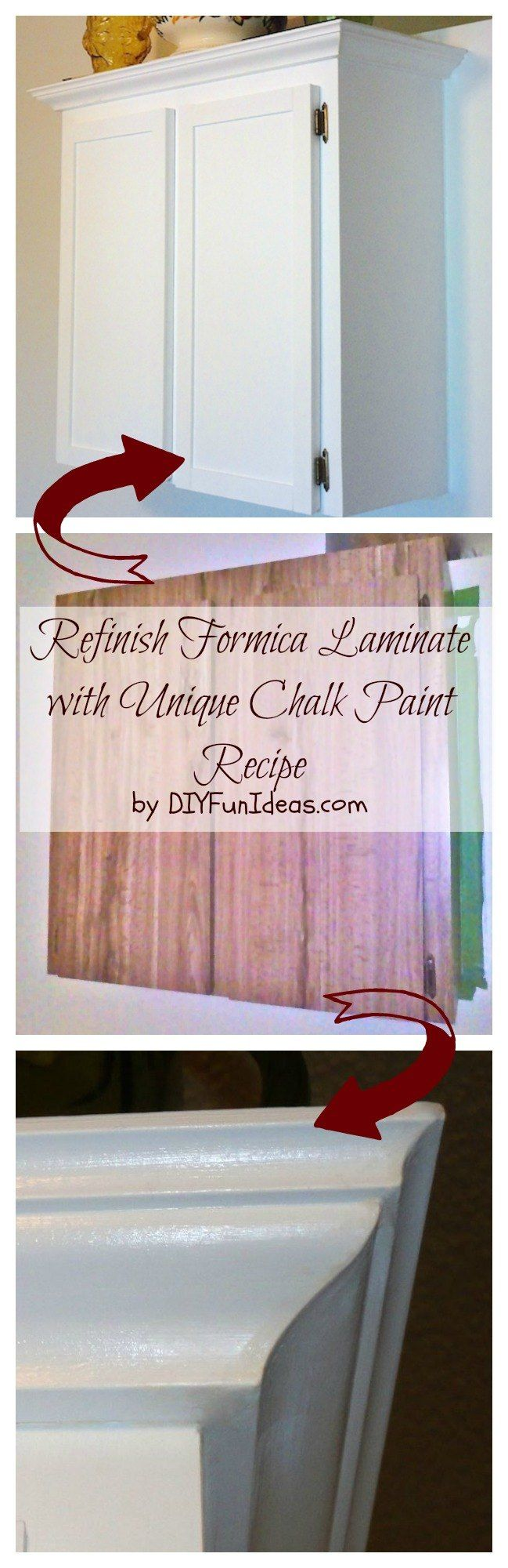 REFINISH FORMICA LAMINATE WITH UNIQUE CHALK PAINT RECIPE. Turn your old formica laminate into beautiful custom cabinet with this unique chalk paint recipe. By Jenise @ DIYFUNIDEAS.COM ...........Most popular pins!