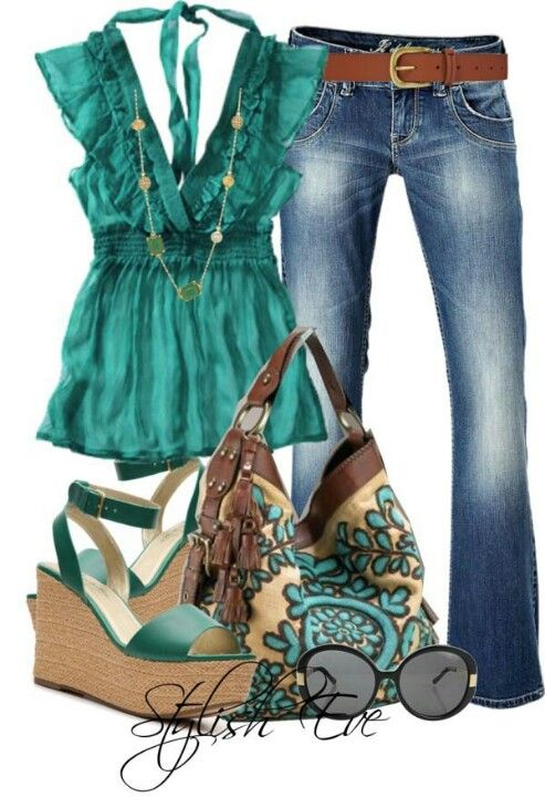 Needs a different purse, but the shoes and top are cute!
