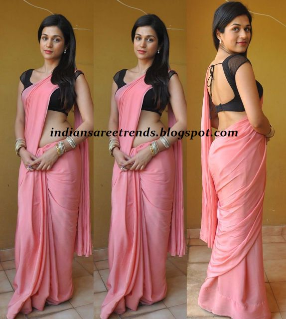 Latest Traditional and Designer Sarees: Shraddha das in shaded pink plain chiffon saree