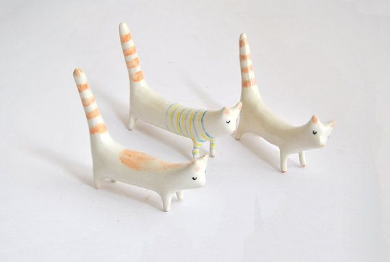 Long Tail Cat Ceramic Miniature in White Clay, Decorated with Stripes, Spots or Plain White. Made To Order
