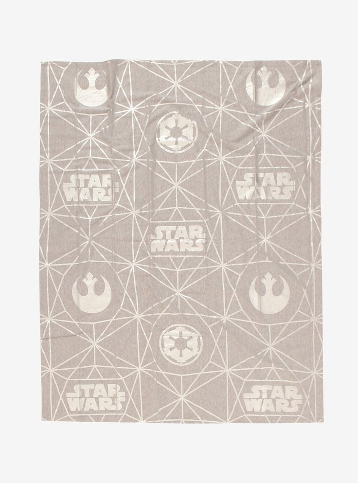 """Curl up under the covers and settle in for a movie marathon! This grey throw blanket is made out of the super softest material that reminds you of your favorite worn-in hoodie, and it's got a metallic geometric Star Wars print that includes the Rebel and Imperial emblems.    65% cotton; 35% polyester  Wash cold; dry low  46"""" x 60""""  Imported"""