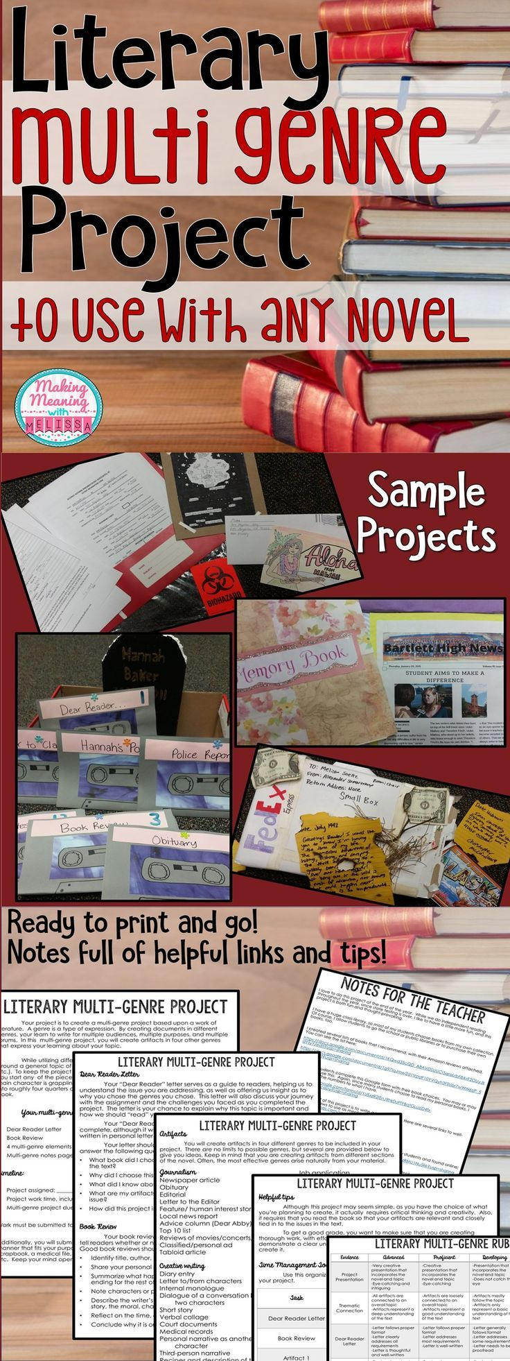 Multi-Genre Project for Any Novel - Middle and High School - Let your 8th, 9th, 10th, or 11th grade classroom students make the most of independent reading time or give students the chance to be creative with your current novel. You get an engaging literacy multi-genre project! This can be used with ANY novel. It puts learning in the students' hands. Differentiation and creativity are a must! Click through for all the details. {eighth, ninth, tenth, eleventh graders, ELA, literature…