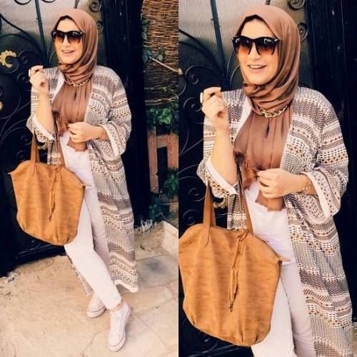 long tribal cardigan hijab style - Summer hijab trends http://www.justtrendygirls.com/summer-hijab-trends/