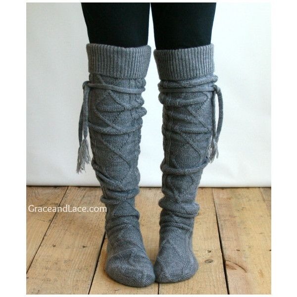 Alpine Thigh High Slouch Sock - Mid Grey thick cable knit socks w/... (265 DKK) ❤ liked on Polyvore featuring intimates, hosiery, shoes, accessories, boots, thigh high hosiery, gray leg warmers, cable leg warmers, cable knit leg warmers and leg warmers