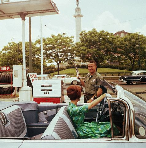Full service.  Fill your tank, wash your windows, check your wipers, check your oil, bring the credit card slip out to you to sign, *AND* you got Green Stamps! Those were the days!