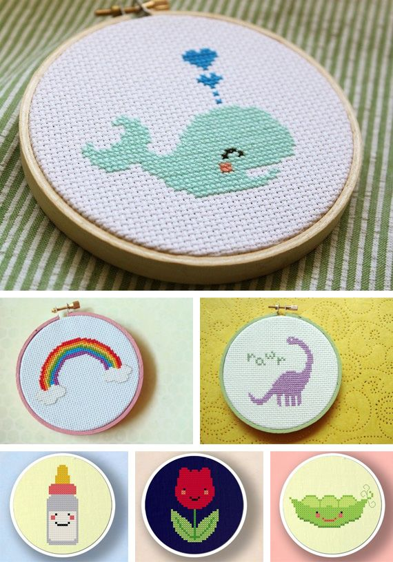 Cute Cross Stitch Hoops. Love the whale and pea pod!                                                                                                                                                     Más