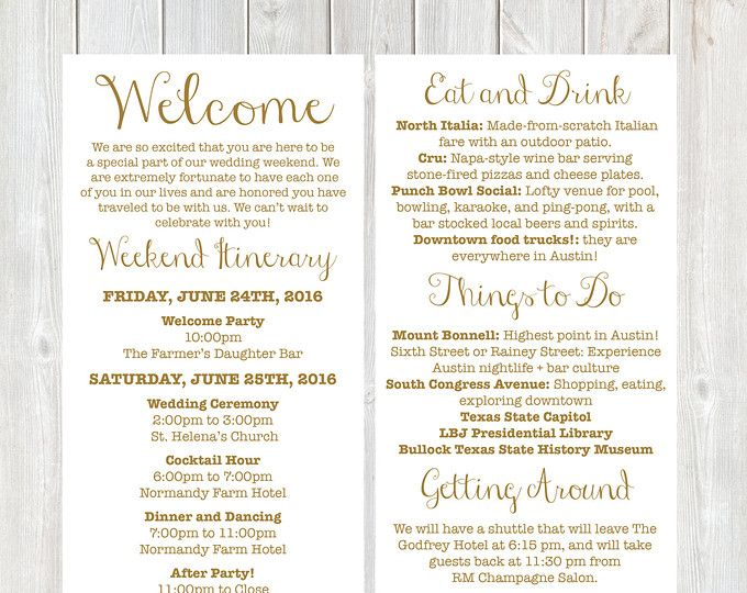 Itinerary Cards For Wedding Hotel Welcome Bag Printed Schedule Destination Wedding Welcome Bag Card Thank You Wedding Weekend Wedding Itinerary Wedding Weekend Itinerary Wedding Welcome Letters