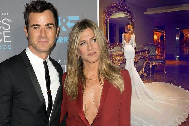 """Jennifer Aniston tied the knot with Justin Theroux on August 5th 2015.over the weekend a Jennifer Aniston Facebook Fans page shared a wedding dress picture alongside the message: """"You have my whole h"""