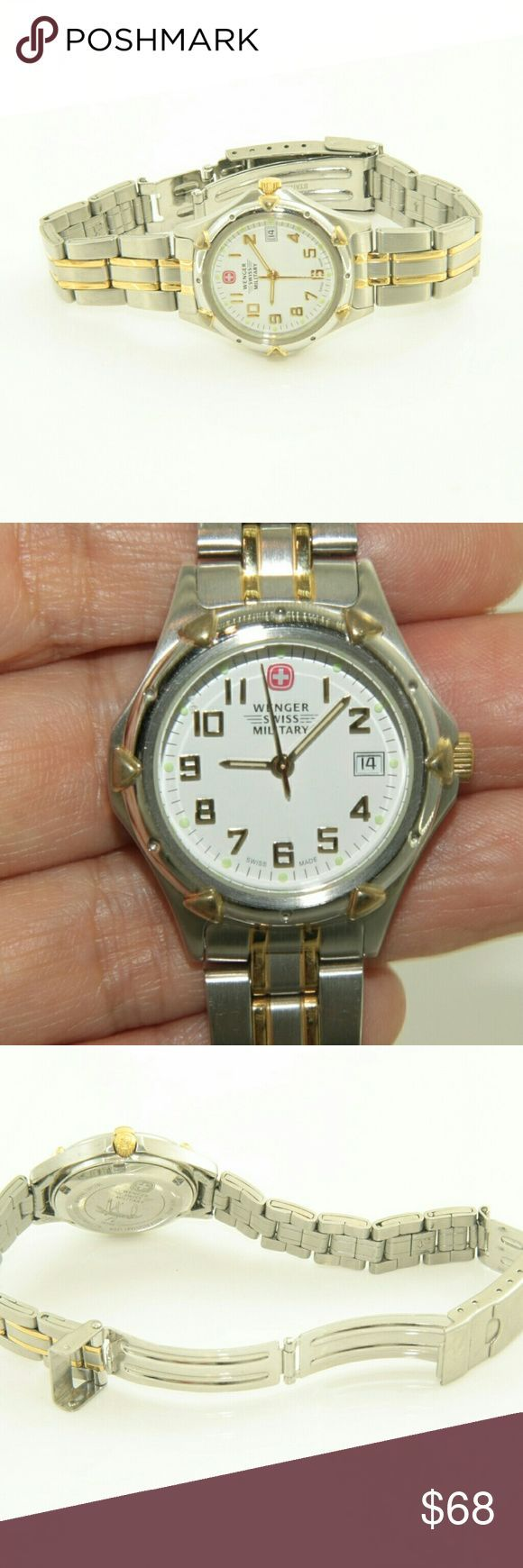 Wenger Swiss Military Watch Wenger Swiss Military Watch.  Used item: any wear is shown in pictures.  Works fine. Is ticking away.  Mineral crystal. Water resistant. All stainless steel.  Bundle Up!  Offers always welcome. Wenger Accessories Watches Sale! Up to 75% OFF! Shop at Stylizio for women's and men's designer handbags, luxury sunglasses, watches, jewelry, purses, wallets, clothes, underwear & more!