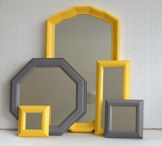 Mirror Collection - Vintage Framed Mirrors Painted Yellow And Gray Grey - Modern Cottage Decor - Home Wall Decor