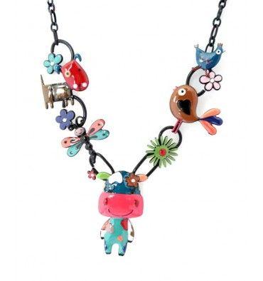 Collier vache Babette coloris fushi, lol Bijoux
